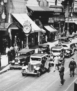 This photo of Hardy's clock was taken around 1928 on Granby Street in Norfolk.